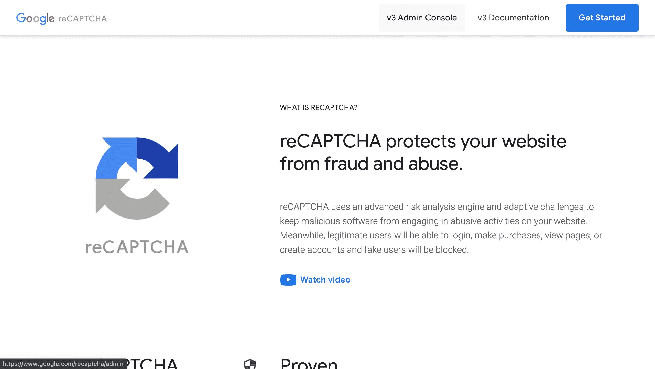 Google recaptcha homepage screenshot conor bradley digital agency